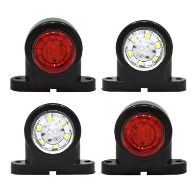 4 Pz FANALE LUCE INGOMBRO LATERALE LED ROSSO BIANCO 12V 24V CAMION RIMORCHIO A27