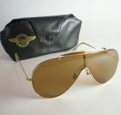 a953c5d8fcc VINTAGE RAY BAN B L WINGS Sunglasses gold aviator brown pilot ski ...