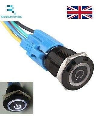 16mm 12V Plastic Latching LED Angel Push Button Switch Optional Holder/Colour