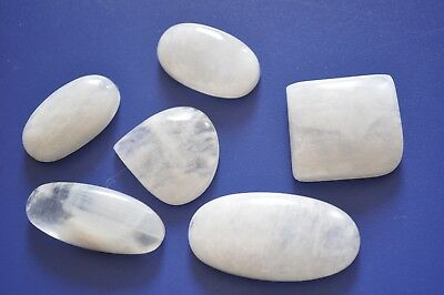 300cts. NATURAL RAINBOW MOONSTONE GEMSTONE CABOCHON LOT 6 PIECES P75