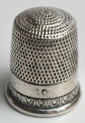 Vintage Signed Mary C. Knight Solid Sterling Silver 925 Sewing Thimble Size: 10