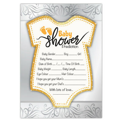 Baby Shower Prediction Game Cards | Gold Theme | Boy, Girl, Unisex