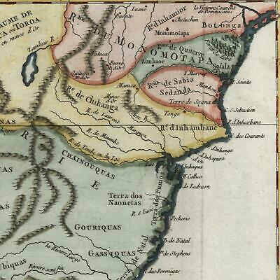 South Africa Caffres Land Monomotapa c. 1749 Vaugondy old hand color map