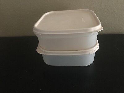 Vintage Tupperware 2 Modular Mates Square Containers With Beige Lids