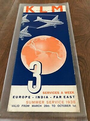Rare 1938 KLM Royal Dutch Airlines Timetable