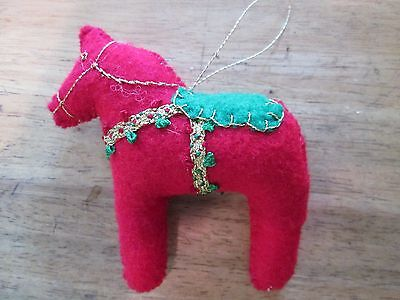 Dala Horse ornament red Metallic embroidery Scandinavian swedish handcrafted
