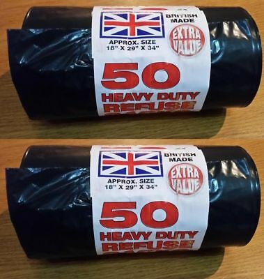 Heavy Duty Black Refuse Sacks Strong Thick Rubbish Bags Bin Liners Uk Made