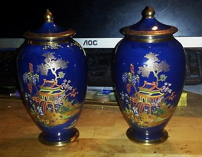 Vintage Pair Of Carlton Ware New Mikado 7 Inches Lidded Vases.