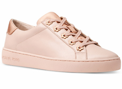 4dcf2384af7 New Michael Kors Irving Sneakers Leather Lace up Tennis floral eyelets Soft  Pink