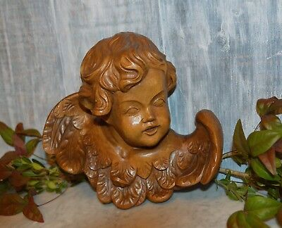 Vintage German Carved Wood Large Cherub Angel Head with Wings