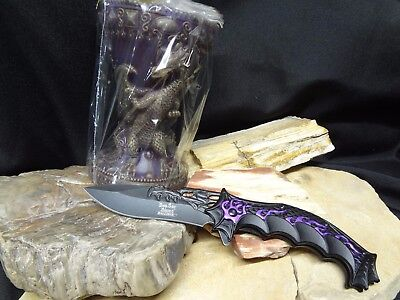 Mythical DRAGON Purple Candle & Knife Set Tealight Tea Light Gift Set