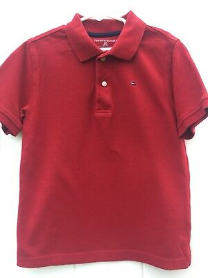 Tommy Hilfiger Boys Short Sleeve Polo Shirt, Red, Size 6-7