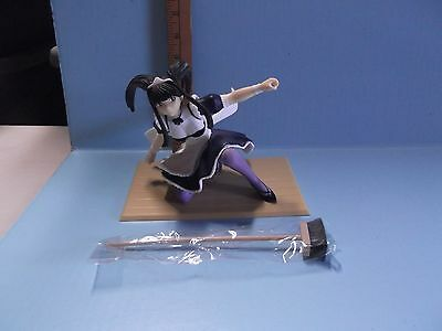 """Love Hina 6""""in Figure of Maid / One Knee Holding Broom Black Hair Maid Outfit"""