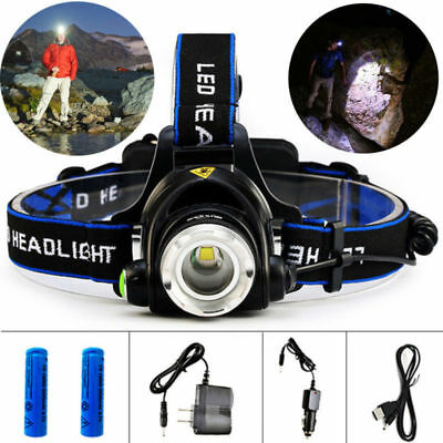 LED headlamp fishing headlight 9000 lumen Zoomable lamp Waterproof Head Torch