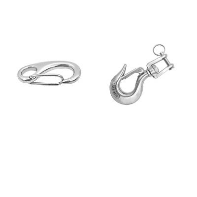 2x Marine Grade Stainless Steel Spring Clip Snap Hook for Marine Boat Yacht