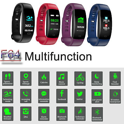 OROLOGIO SMARTWATCH FITNESS TRACKER Impermeabile SPORT BAND PER ANDROID iOS F64