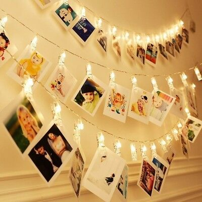 30 LED Hanging Picture Photo Peg Clip Fairy String Lights XMAS Party Decor Lamp