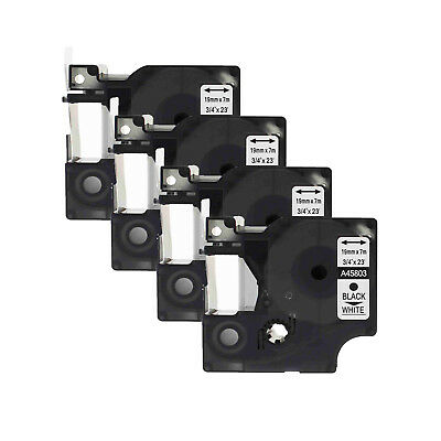4PK Black on White Label Tape 19mm Compatible For DYMO 45803 D1 23' x 3/4''