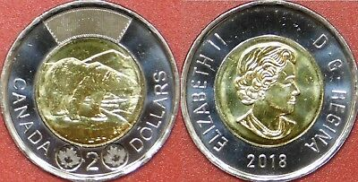 Brilliant Uncirculated 2018 Canada 2 Dollars From Mint's Roll