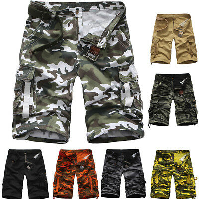 Mens Military Combat Camo Cargo Shorts Pants Work Casual Short Army Trouser US