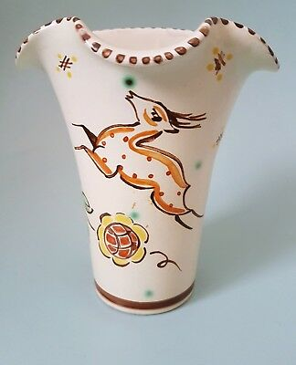 Vintage Honiton Pottery Wall Pocket Leaping Dear