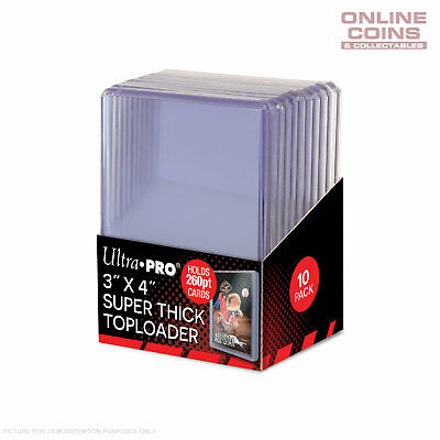 """Ultra Pro 3"""" x 4"""" 260pt Super Thick Toploader Card Protectors - Packet of 10"""