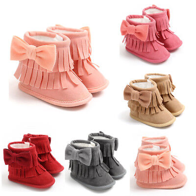 Baby Girl Tassel Snow Boots Winter Booties Infant Toddler Newborn Shoes 0-18M