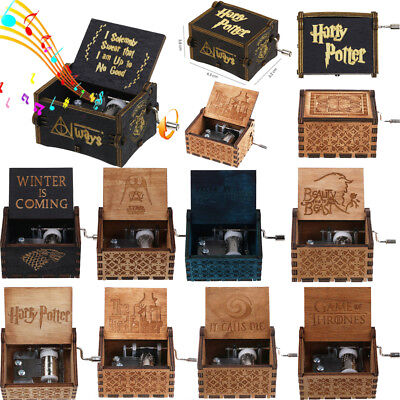 Harry Potter Game of Thrones Black Engraved Wooden Music Box Toys Best Gifts NEW