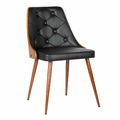 9e6348ce70d Armen Living Lily Mid-Century Dining Chair in Walnut Finish and Black Pu