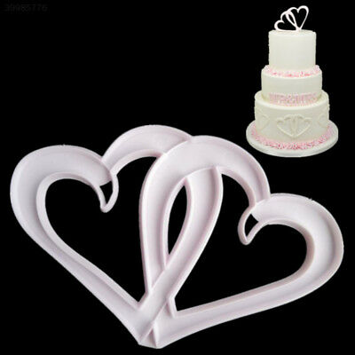 BBD9 DIY Kitchen Tool Cake Embossing Die Cake Fondant Mould Double Heart Shape