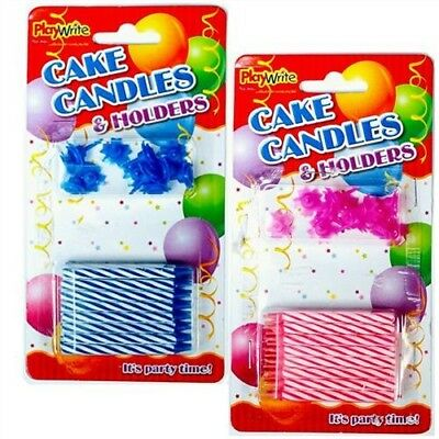 24 Traditional Blue or Pink Cake Candles & Holders Kids Birthday Party