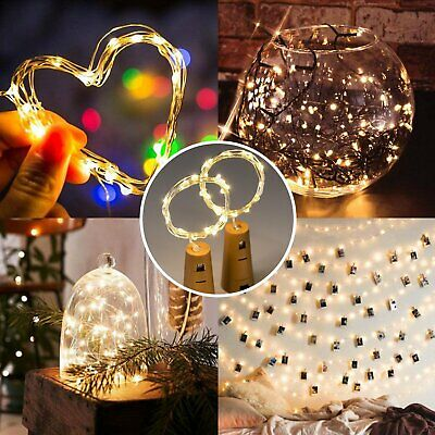 1/4/8/12X 2M Wine Bottle Cork Shape Lights 20 LED Night Fairy String Lights Lamp