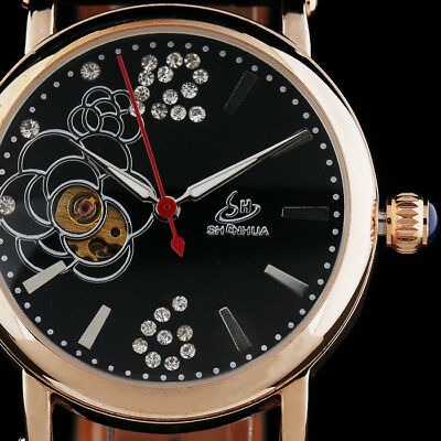 Shenhua Flower Dial Automatic Mechanical Leather Band Wrist Watches For Womens