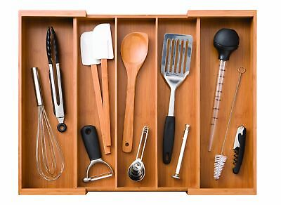 Large Compartment Bamboo Durable Expandable Adjustable Cutlery Drawer Storage