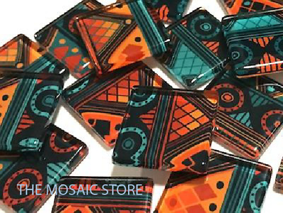 Handmade Tribal Inspired Glass Tiles 2.5cm - Mosaic Art Craft Supplies