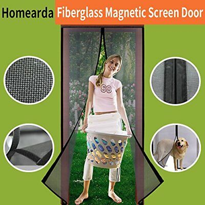 "Magnetic Screen Door Fiberglass-Magnets-Durable Fiberglass Mesh Curtain 34""x82"""