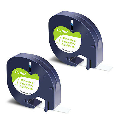2PK Black on White Paper Tape Label 91330 for DYMO Letra Tag LT-100H 100T QX50
