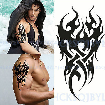 Men's Temporary Tattoo Waterproof Totem Body Arm Leg Art Stickers Removable UK