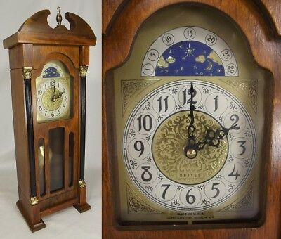 "Vintage United Miniature USA 20"" Wall/Mantel/Shelf Grandfather Clock SOLID WOOD"