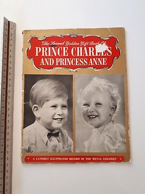 """Vintage Booklet """"The 2nd Golden Gift Book of Prince Charles and Princess Anne"""""""