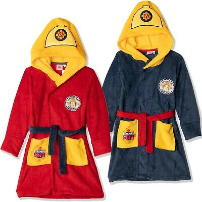 Fireman Sam Boys Hooded Bathrobe Dressing Gown Towel Warm Coral Fleece 2-6 Yrs