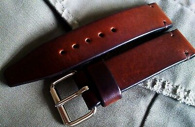 Solid 4.5mm thick brown vintage military leather watch strap 18, 20, 22, 24