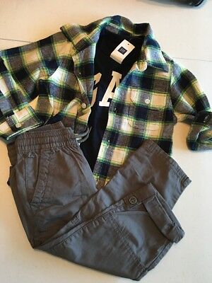 New Baby Gap Boy's 3T Outfit 3 Piece Pants Logo T shirt Flannel Shirt Gray Blue
