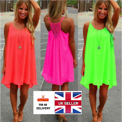 Womens Ladies Mini Boho Floaty Chiffon Beach Dress Cover Up Sexy UK 6 8 10 12 14