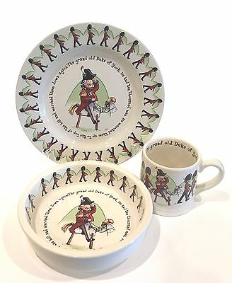 1890 Anderton Pottery Childrens 3 Pc Dinnerware Duke York Plate Bowl Mug Set