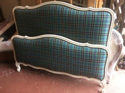 Painted Vintage French Double Bed With Cornish Tartan Upholstery