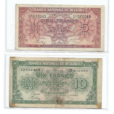 1943 Belgium 1 & 2 Belgas P-121 & 122 Fair well circulated bank note WWII issue
