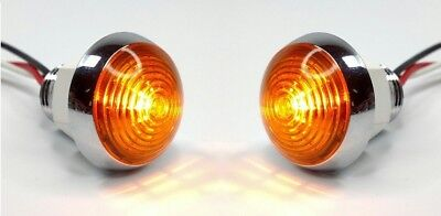 "Pair 1-1/4"" Dual Function Amber LED Marker Light VTG/Classic Mini Moon Chrome"