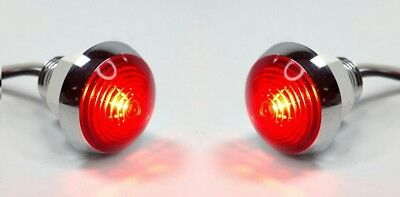"Pair 1-1/4"" Dual Function Red LED Marker Light Mini Moon Chrome Bezel"