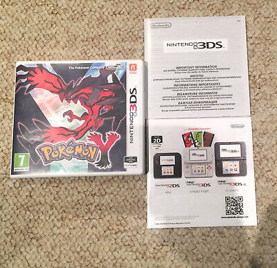 *no Game* Pokemon Y Version Case & Leaflets Only! Nintendo 3Ds / 2Ds.